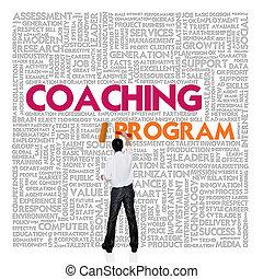 単語, 金融, ビジネス 概念, コーチ, プログラム, 雲