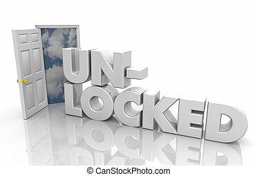 単語, 錠を開けられた, イラスト, 潜在性, 戸オープン, あなたの, 3d