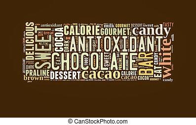 単語, 雲, チョコレート