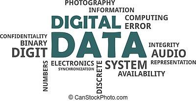 単語, 雲, -, デジタル, データ