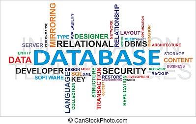 単語, -, 雲, データベース