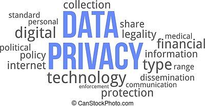 単語, 雲, -, データ, プライバシー