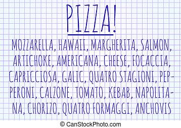 単語, 雲, ピザ