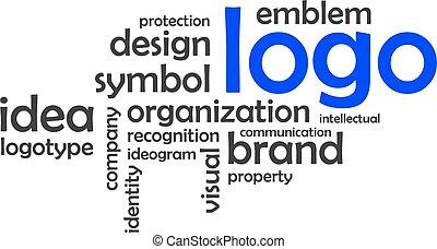 単語, -, 雲, ロゴ