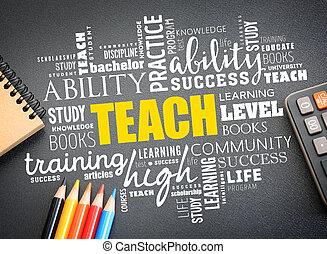 単語, 雲, 概念, コラージュ, 教えなさい, 教育