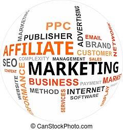 単語, -, 雲, affiliate, マーケティング
