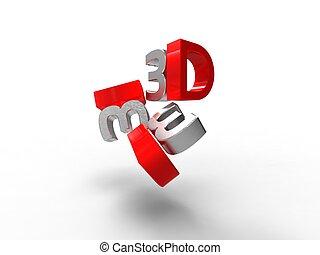 単語, 3, イラスト, 次元, 特徴, 銀, 赤, 3d