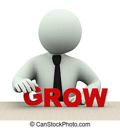 単語, 3d, 人, 成長しなさい, ビジネス