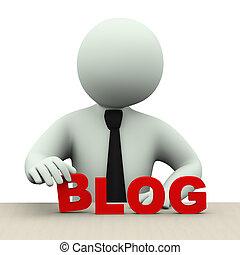 単語, 3d, 人, blog, ビジネス