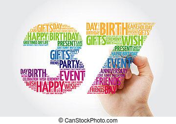 単語, birthday, 37th, マーカー, 雲, 幸せ