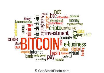 単語, bitcoin, 雲