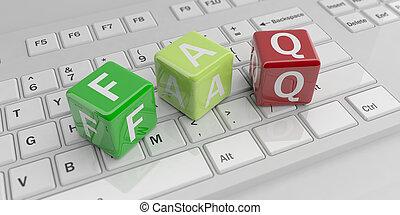 単語, faq, レンダリング, キーボード, 立方体, 3d