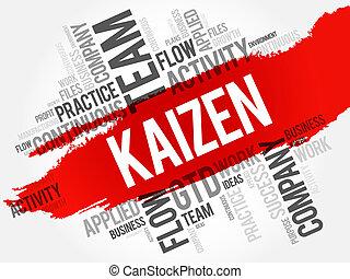 単語, kaizen, コラージュ, 雲
