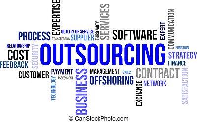 単語, -, outsourcing, 雲