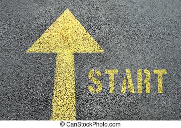 単語, road., アスファルト, 黄色の符号, 始めなさい, 前方へ, 道