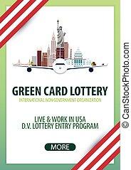 博彩, usa., banner., 移居, 签证, 绿色, 卡片