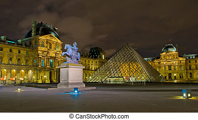 博物馆, 法国, 夜晚, 巴黎, 卢浮宫