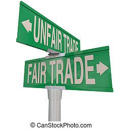 博覽會, vs, 不公平, 貿易, 詞, 二 方式, 街道, 路標, 負責
