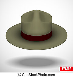 卡其布, 插圖, color., 別動隊員, 矢量, 綠色的帽子