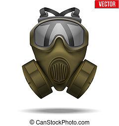 卡其布, illustration., 防毒面具, 矢量, respirator.