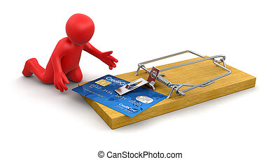 卡片, 信用, 捕鼠器, 人