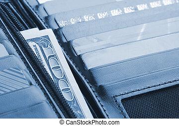卡片, 信用, 皮夹子, 钱