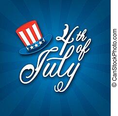 卡片, 傳統, 美國人, 7月4 日, 旗幟, 愉快