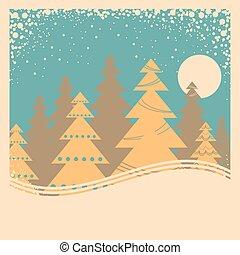 卡片, 冬天, 插圖, 老, 雪, 海報, 框架, 葡萄酒