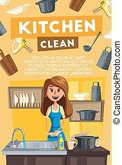 卡片, 家务劳动, 打扫, 家庭主妇, 厨房