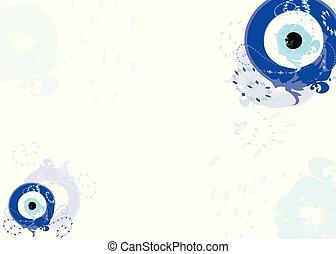 卡片, 带, 蓝色, 邪恶的眼睛, 矢量