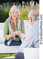 卡片, 年長者, 婦女, 玩, 人