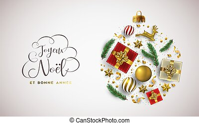 卡片, 年, 圣诞节, french, 圣诞节, 新, 金子, 装饰物