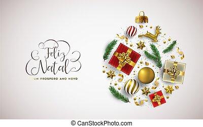 卡片, 年, portuguese, 球, 圣诞节, 圣诞节, 新, 金子
