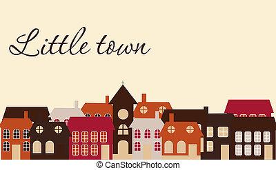 卡片, 由于, a, 美麗, 很少, town., 矢量, 插圖