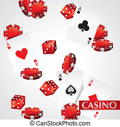 卡片, 芯片, 娱乐场, 扑克牌