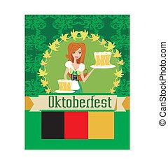 卡片, oktoberfest, 啤酒, 相當, 女服務員