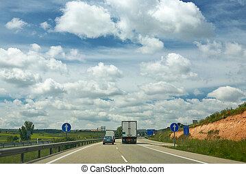 卡車, 上, a, 高速公路