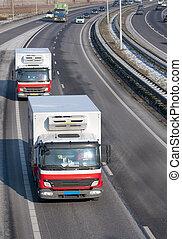 卡車, 上, the, 高速公路
