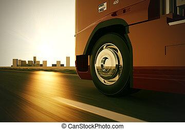 卡車, 上, the, road.