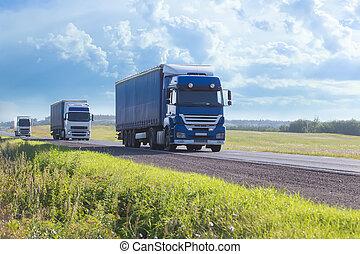 卡車, 去, 上, the, 高速公路
