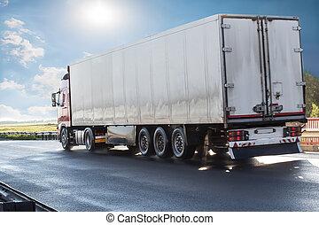 卡車, 去, 日出, 高速公路