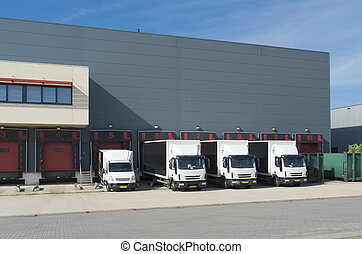 卡車, 在, 倉庫, 建築物