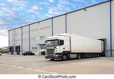 卡車, 在, 倉庫
