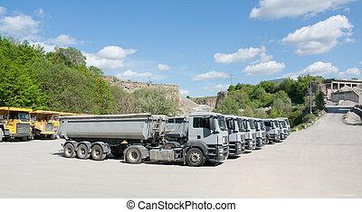 卡車, 在, a, 采石場