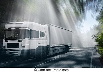 卡車, 在, the, 路