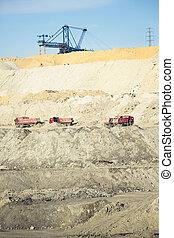 卡車, 操作, 在, a, 煤礦