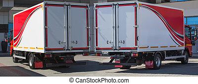 卡車, 由于, 容器, 近, 建築物