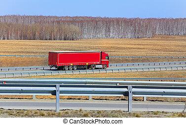 卡車, 由于, 拖車, 去, 上, the, 高速公路
