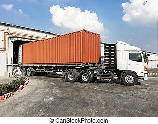 卡車, 裝貨, 容器,  wa, 貨物