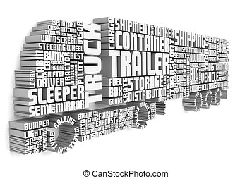 卡車, 詞, 前面, 3d, 形成, 拖車, 看法